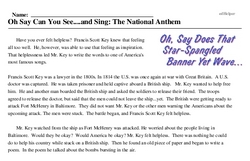Print <i>Oh Say Can You See....and Sing: The National Anthem</i> reading comprehension.