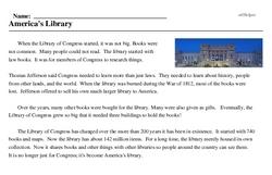Print <i>America's Library</i> reading comprehension.