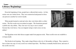 Print <i>Library Beginnings</i> reading comprehension.