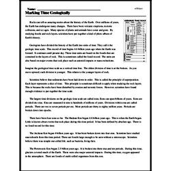 Print <i>Marking Time Geologically</i> reading comprehension.