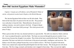 Print <i>How Did Ancient Egyptians Make Mummies?</i> reading comprehension.