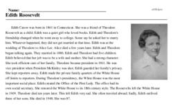 Print <i>Edith Roosevelt</i> reading comprehension.