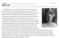 Print <i>Helen Taft</i> reading comprehension.