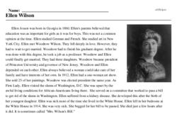 Print <i>Ellen Wilson</i> reading comprehension.