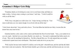 Print <i>Grandma's Helper Gets Help</i> reading comprehension.