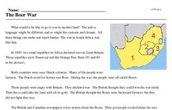 Print <i>The Boer War</i> reading comprehension.