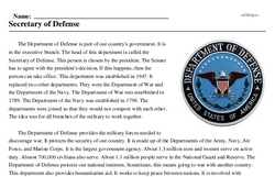 Print <i>Secretary of Defense</i> reading comprehension.