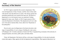 Print <i>Secretary of the Interior</i> reading comprehension.