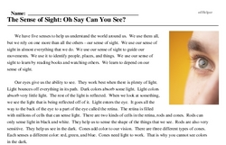 Print <i>The Sense of Sight: Oh Say Can You See?</i> reading comprehension.