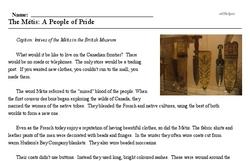 Print <i>The Métis: A People of Pride</i> reading comprehension.
