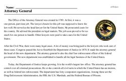 Print <i>Attorney General</i> reading comprehension.
