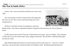 Print <i>The War in South Africa</i> reading comprehension.