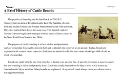 Print <i>A Brief History of Cattle Brands</i> reading comprehension.