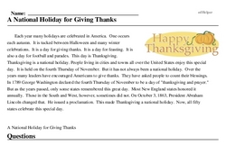 Print <i>A National Holiday for Giving Thanks</i> reading comprehension.