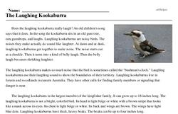 Print <i>The Laughing Kookaburra</i> reading comprehension.
