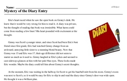 Print <i>Mystery of the Diary Entry</i> reading comprehension.
