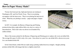 Print <i>How Is Paper Money Made?</i> reading comprehension.