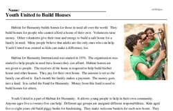 Print <i>Youth United to Build Houses</i> reading comprehension.