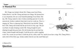 Print <i>A Musical Pet</i> reading comprehension.