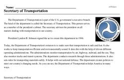 Print <i>Secretary of Transportation</i> reading comprehension.