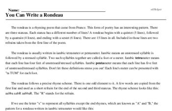 Print <i>You Can Write a Rondeau</i> reading comprehension.