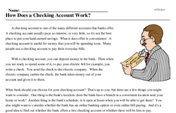 Print <i>How Does a Checking Account Work?</i> reading comprehension.