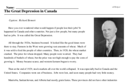 Print <i>The Great Depression in Canada</i> reading comprehension.