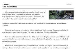 Print <i>The Rainforest</i> reading comprehension.