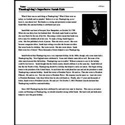 Print <i>Thanksgiving's Superhero: Sarah Hale</i> reading comprehension.