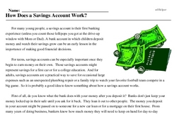 Print <i>How Does a Savings Account Work?</i> reading comprehension.