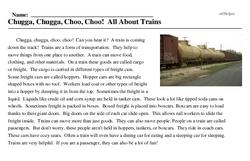 Print <i>Chugga, Chugga, Choo, Choo! All About Trains</i> reading comprehension.
