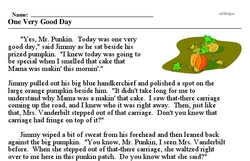 Print <i>One Very Good Day</i> reading comprehension.