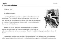 Print <i>A Halloween Letter</i> reading comprehension.