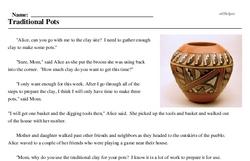 Print <i>Traditional Pots</i> reading comprehension.