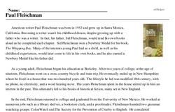 Print <i>Paul Fleischman</i> reading comprehension.