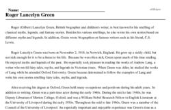 Print <i>Roger Lancelyn Green</i> reading comprehension.