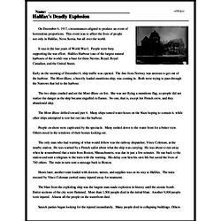 Print <i>Halifax's Deadly Explosion</i> reading comprehension.