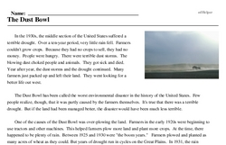 Print <i>The Dust Bowl</i> reading comprehension.