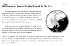 Print <i>Old Steamboat: Famous Bucking Horse of the Old West</i> reading comprehension.