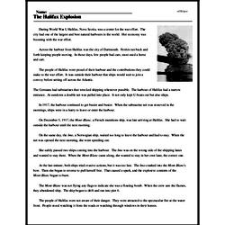 Print <i>The Halifax Explosion</i> reading comprehension.