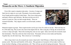 Print <i>Monarchs on the Move: A Southern Migration</i> reading comprehension.