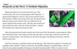 Print <i>Monarchs on the Move: A Northern Migration</i> reading comprehension.