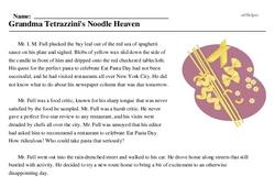 Print <i>Grandma Tetrazzini's Noodle Heaven</i> reading comprehension.