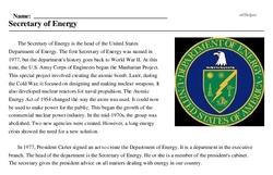 Print <i>Secretary of Energy</i> reading comprehension.