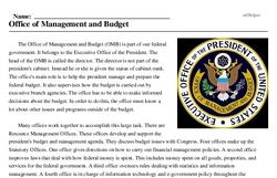 Print <i>Office of Management and Budget</i> reading comprehension.