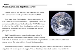 Print <i>Planet Earth, the Big Blue Marble</i> reading comprehension.