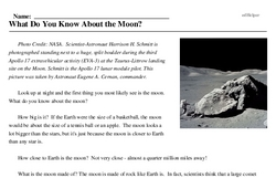 Print <i>What Do You Know About the Moon?</i> reading comprehension.