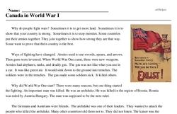 Print <i>Canada in World War I</i> reading comprehension.