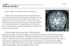 Print <i>What Is a Stroke?</i> reading comprehension.