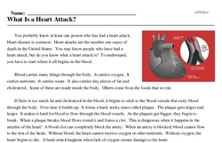 Print <i>What Is a Heart Attack?</i> reading comprehension.